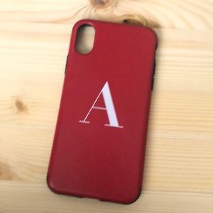 iPhone X red and black leather look like case
